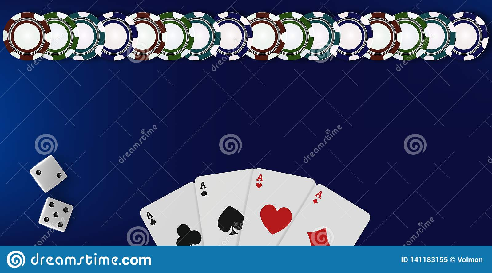 Top View Of Casino Table Background Poker Chips Dice And Cards On Blue Background Online Vegas Casino Banner With Stock Vector Illustration Of Black Background 141183155