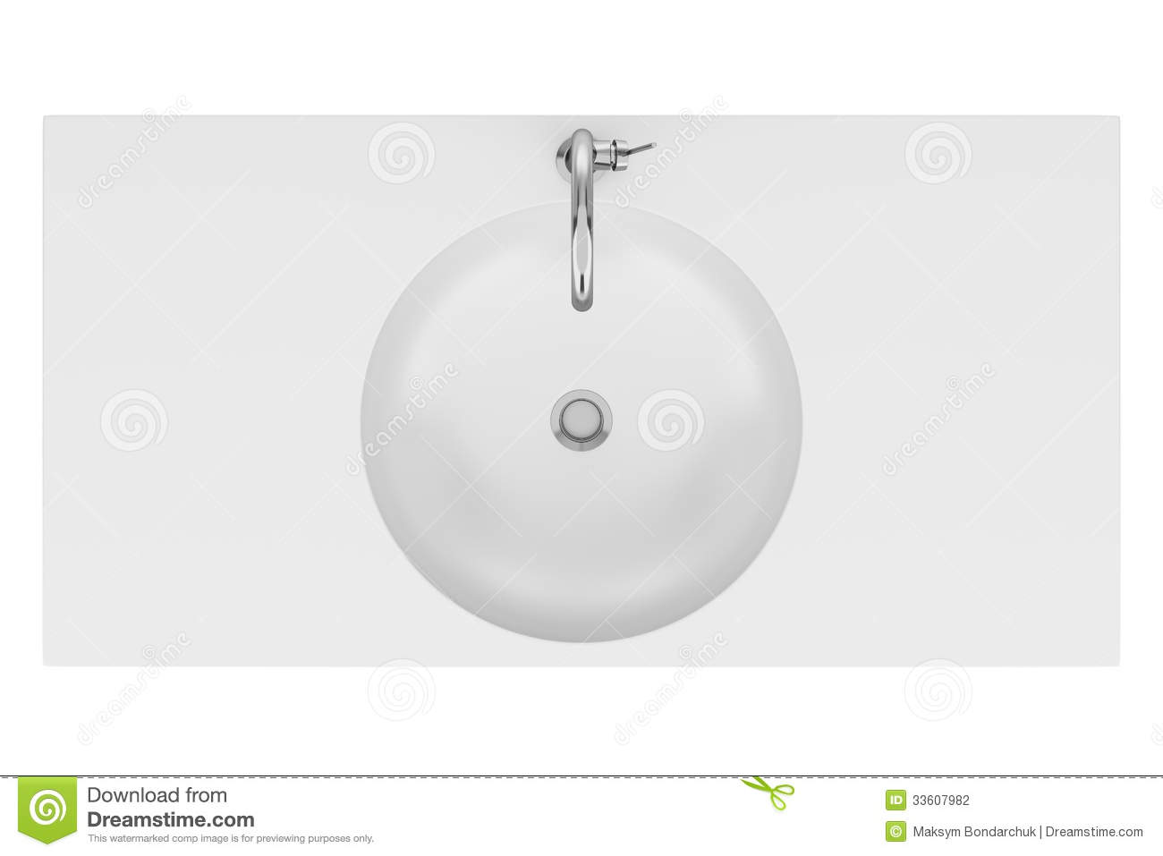 Bathroom sink top view - Top View Of Ceramic Bathroom Sink Isolated On White