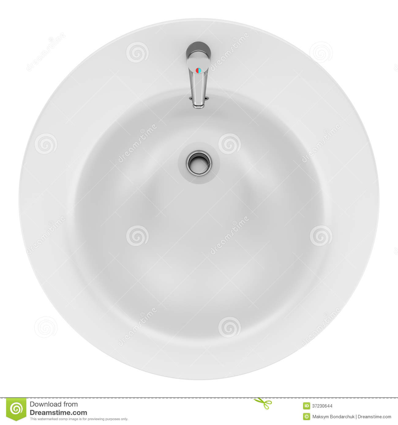 Top View Of Ceramic Bathroom Sink Isolated On White Stock