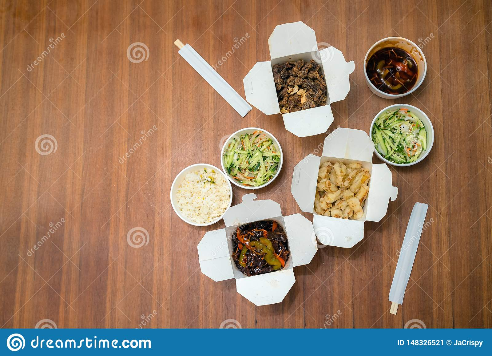 Top View Of Chinese Take Away Food With Chop Sticks On