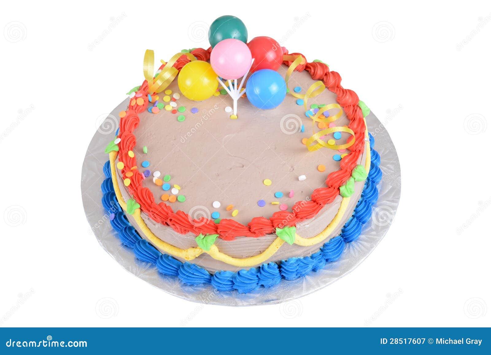Top View Chocolate Birthday Cake Stock Image