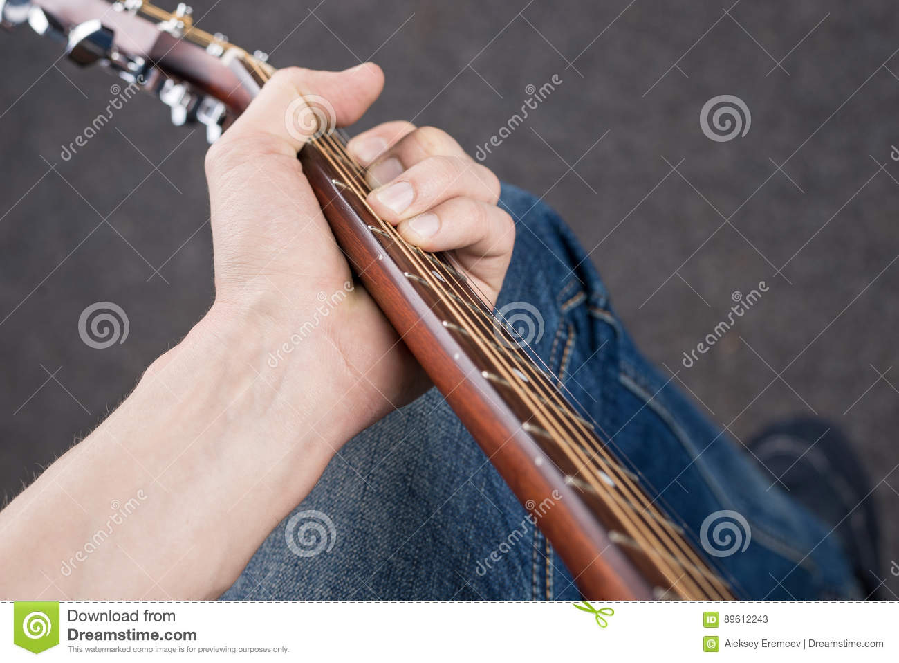 Top View Of A Chord On An Acoustic Guitar Stock Image Image Of