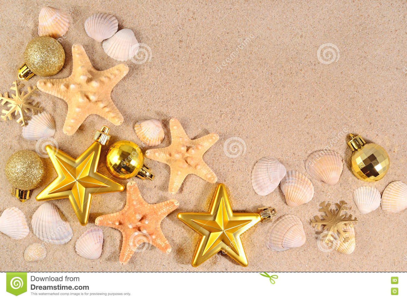top view of christmas decorations and seashells and starfish stock