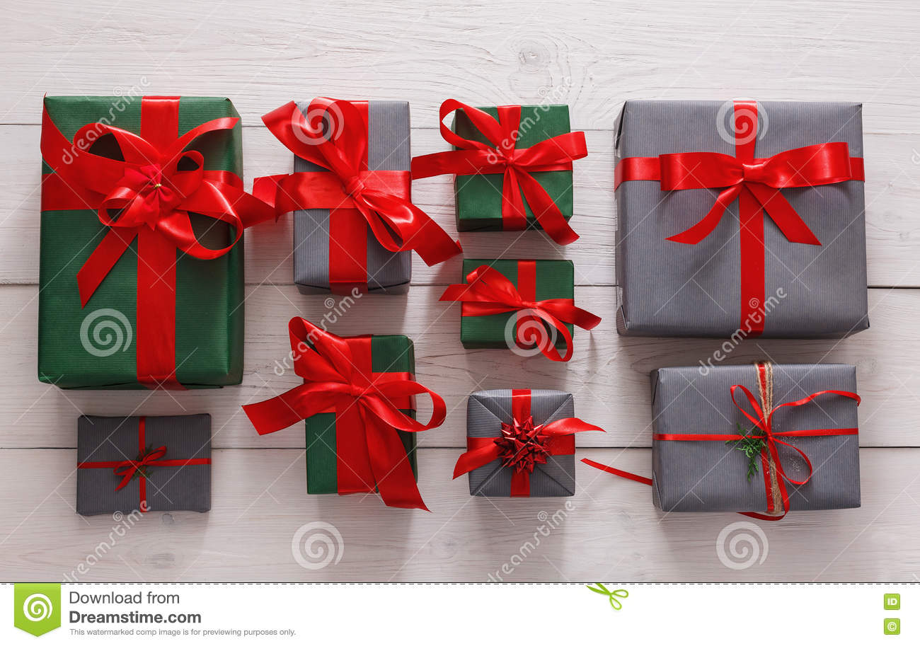 top view of christmas present boxes on white wood background - Christmas Present Decoration