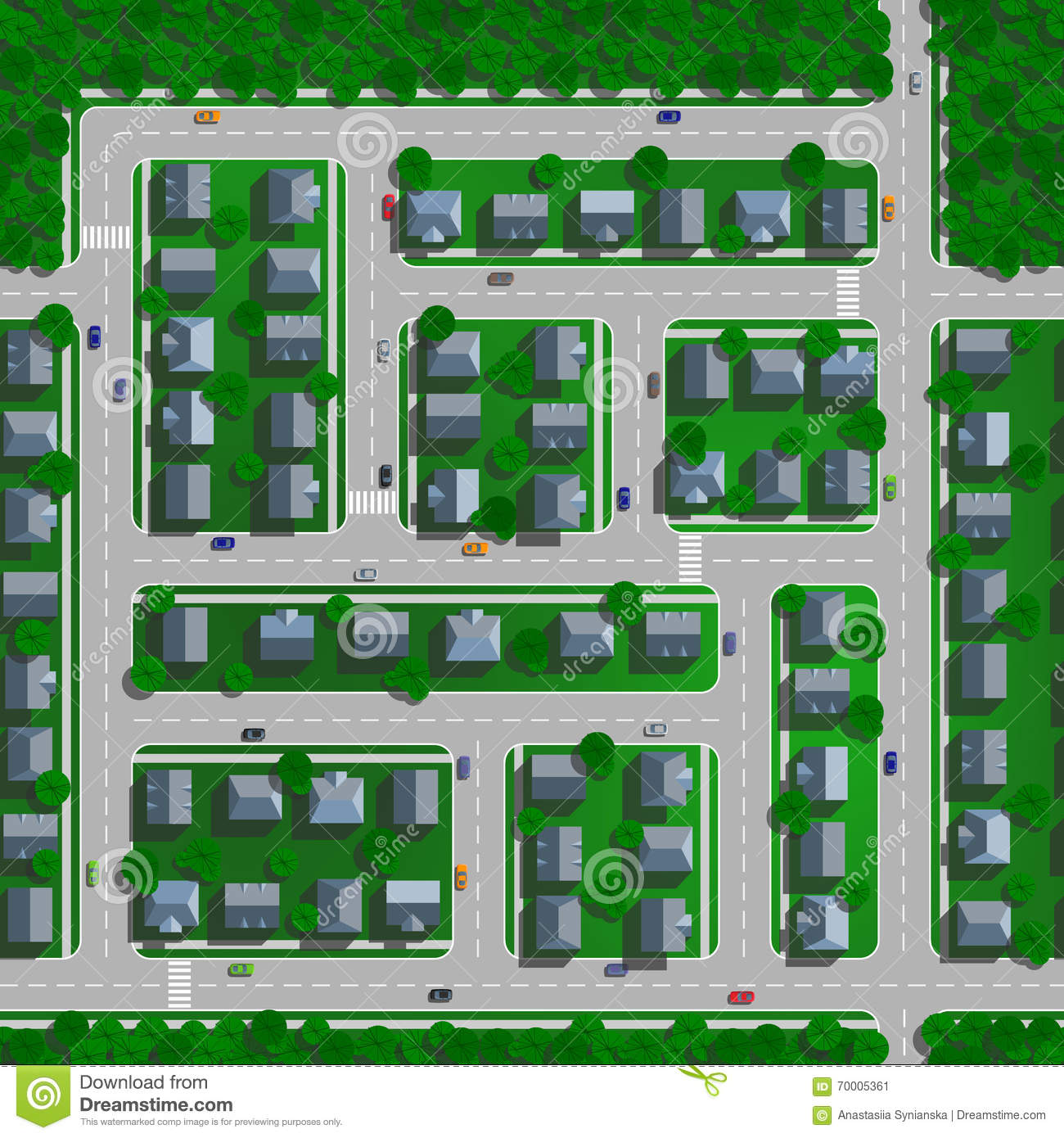 Top View City Streets Roads Houses Vector on Swimming Pool Plan Drawing