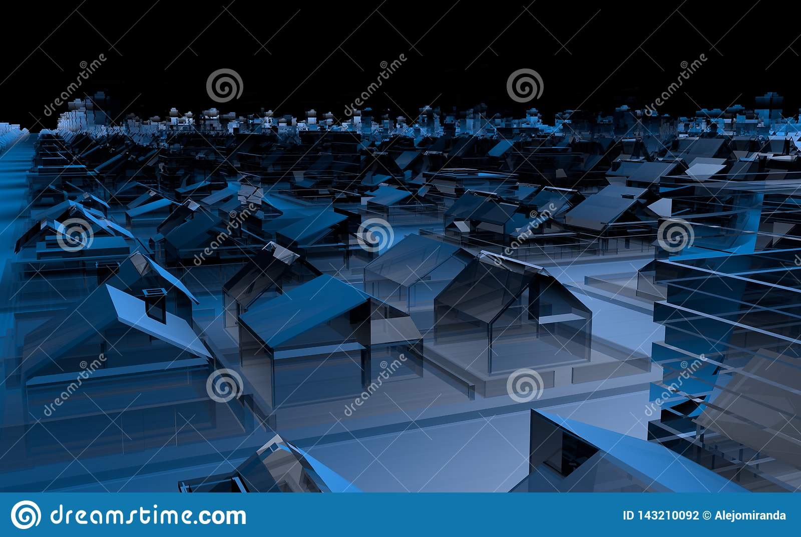Top view of a city full of blue transparent houses and buildings with abstract buildings on the horizon with black sky