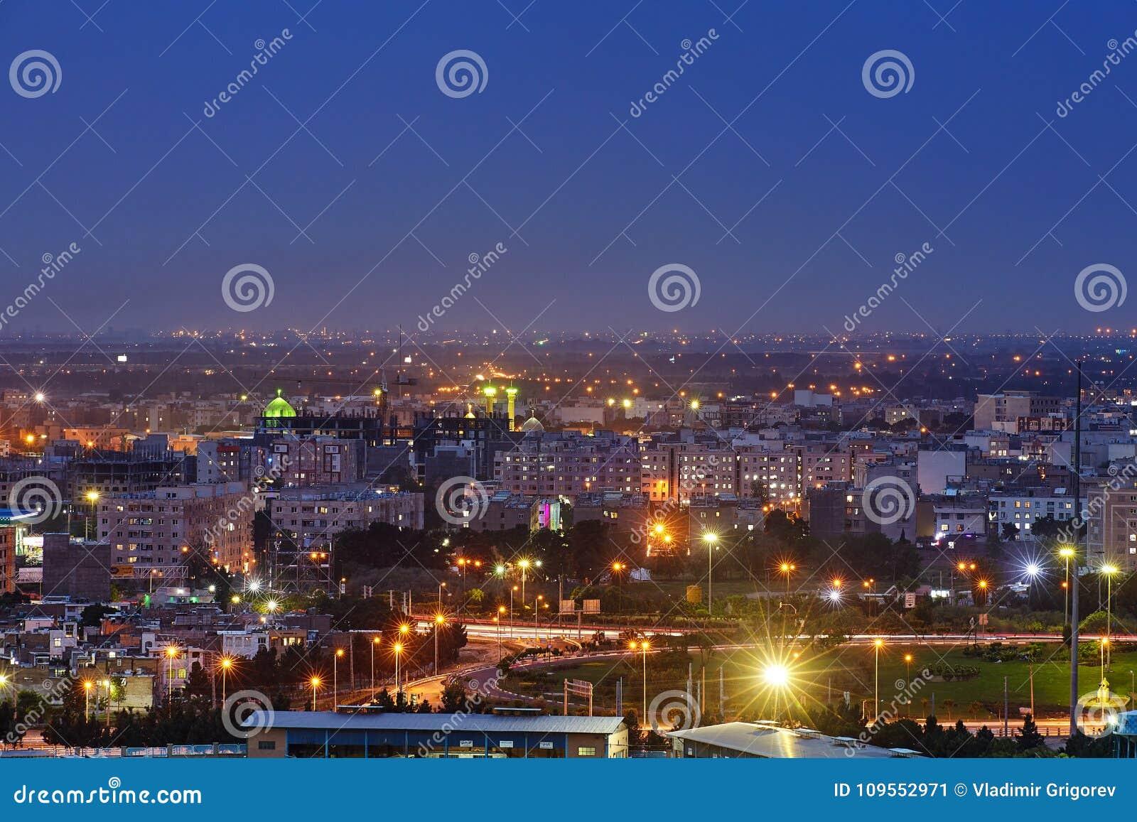 Top view of city in night illumination, Tehran, Iran.