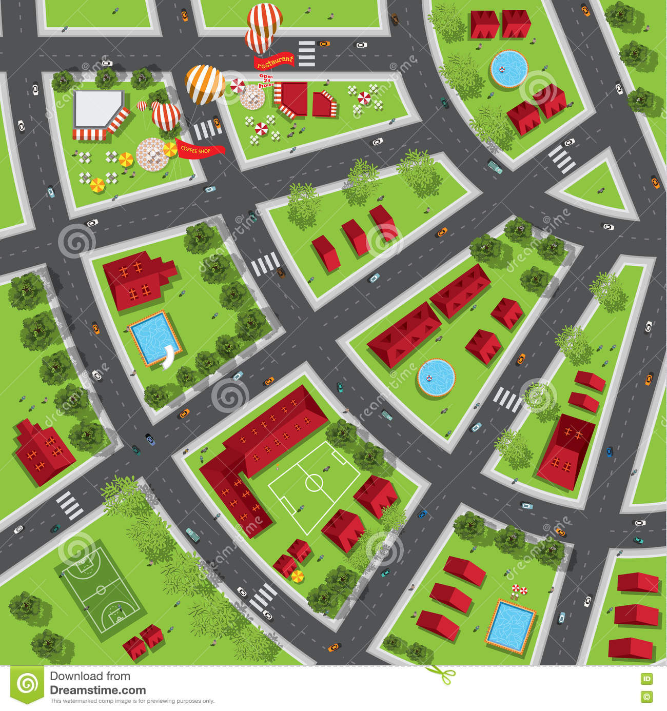 Top view of the city of streets, roads, houses, treetop