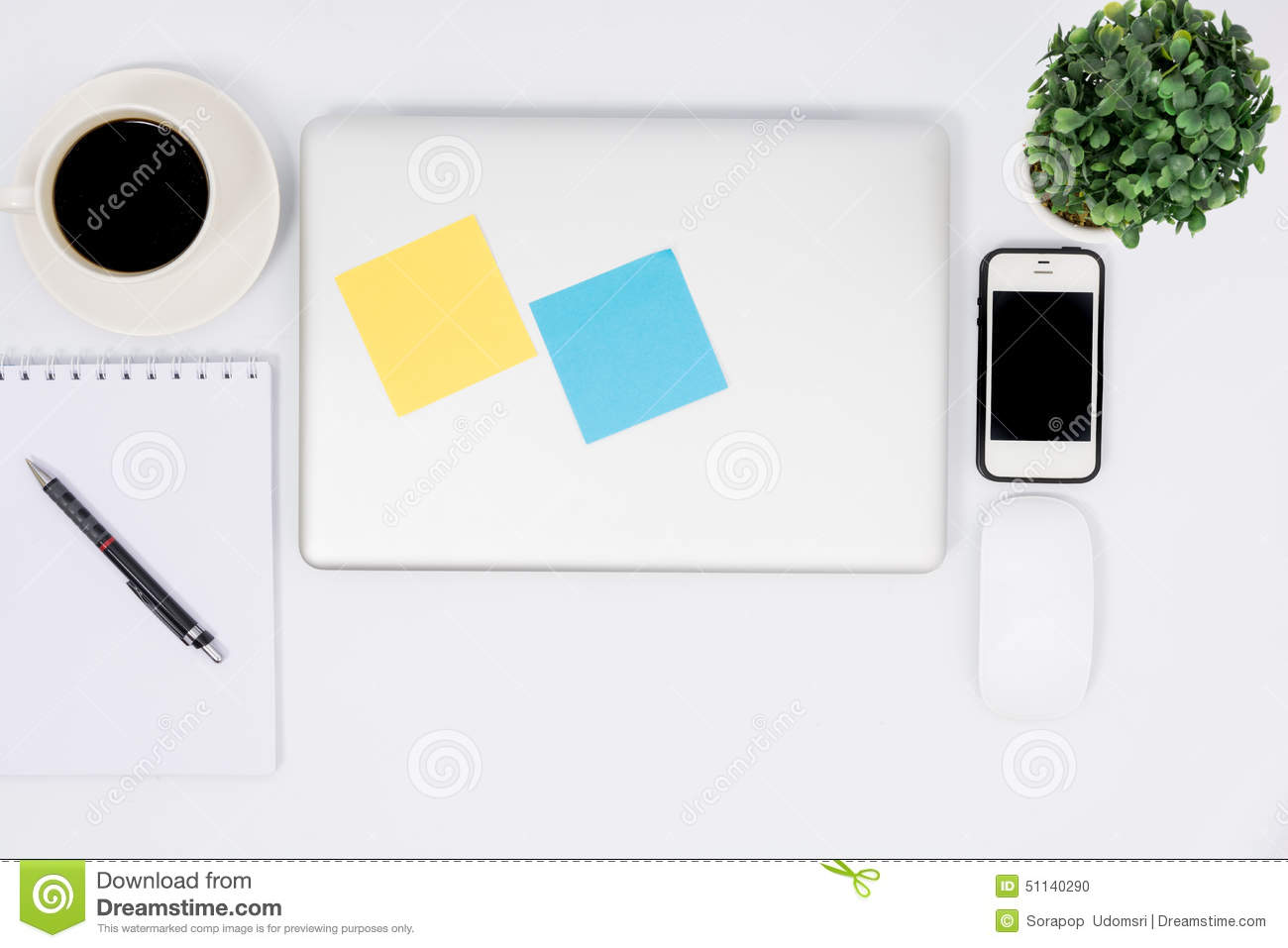 Top View Close Laptop Or Notebook Workspace Office N