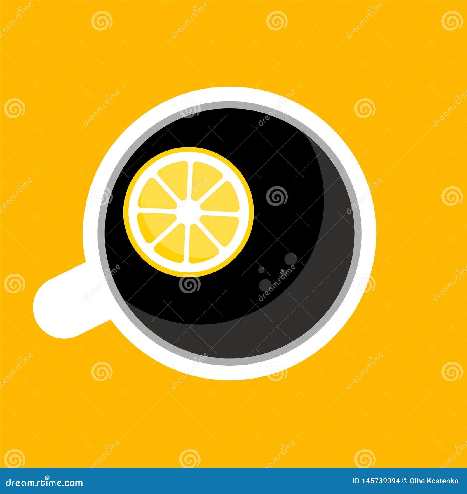 Top view of coffee, tea cup, mug with half of lemon