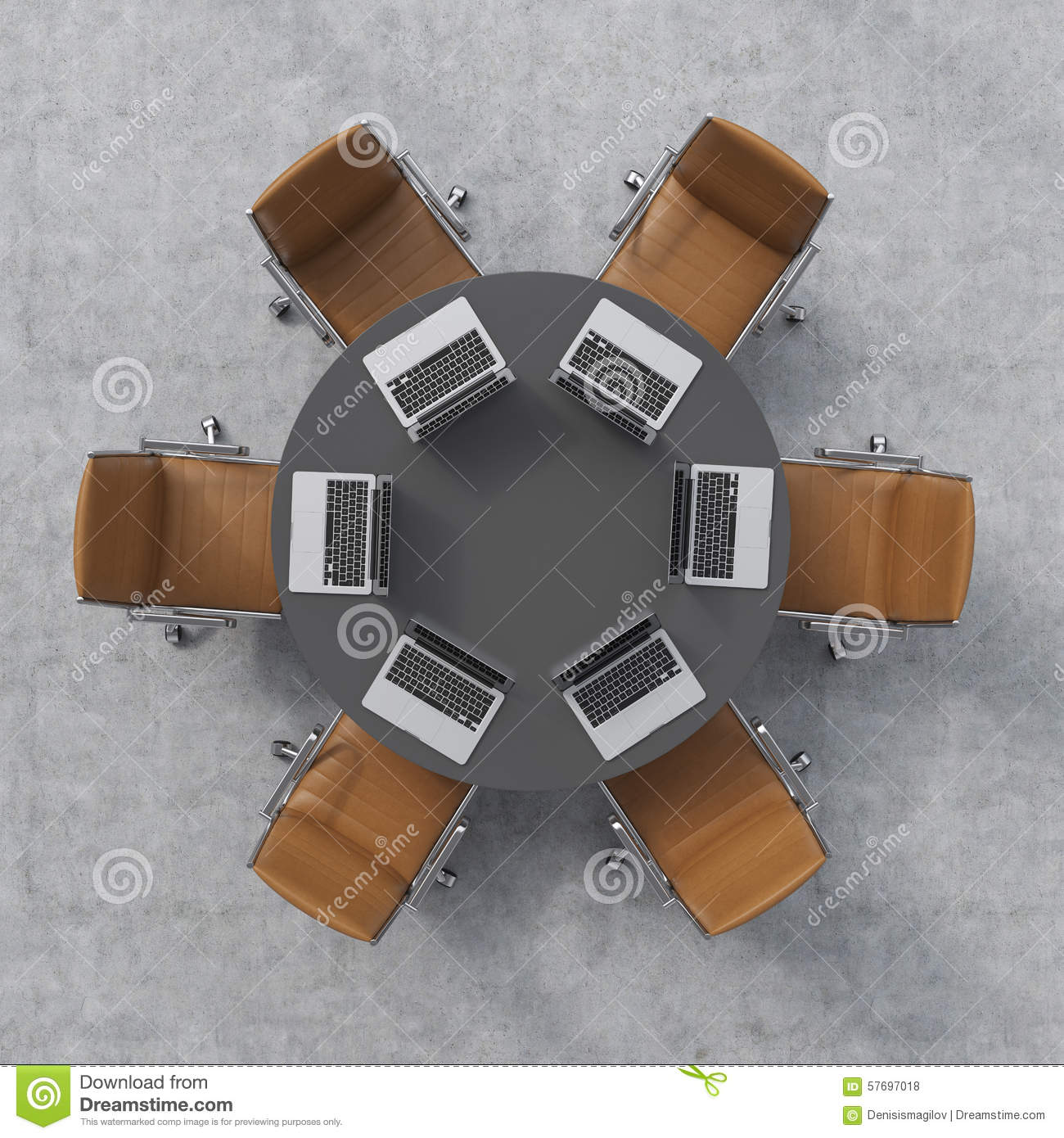 Top View Of A Conference Room. A Black Round Table, Six Brown Leather Chairs  And Six Laptops. Office Interior.