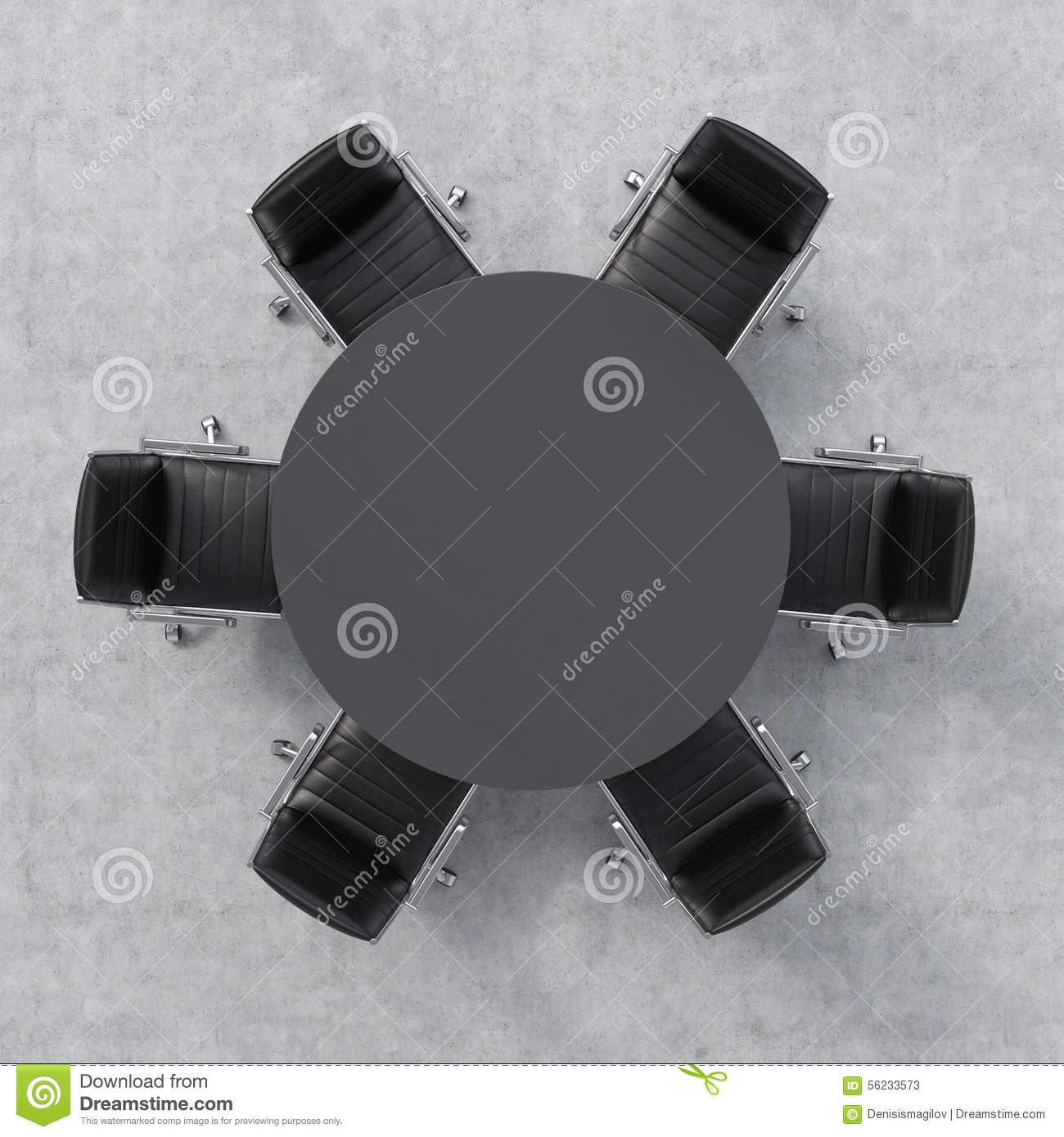 Top View Of A Conference Room A Black Round Table And Six