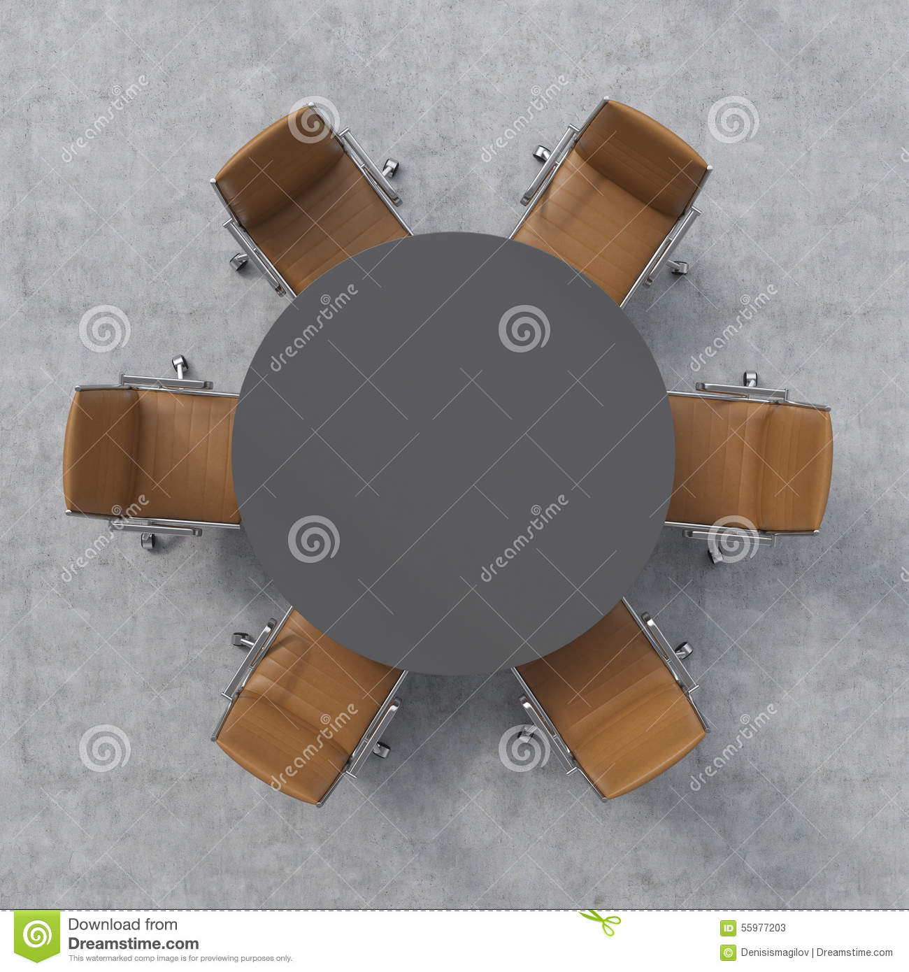 Top View Of A Conference Room A Dark Grey Round Table And Six Brown Leather Chairs Around 3d