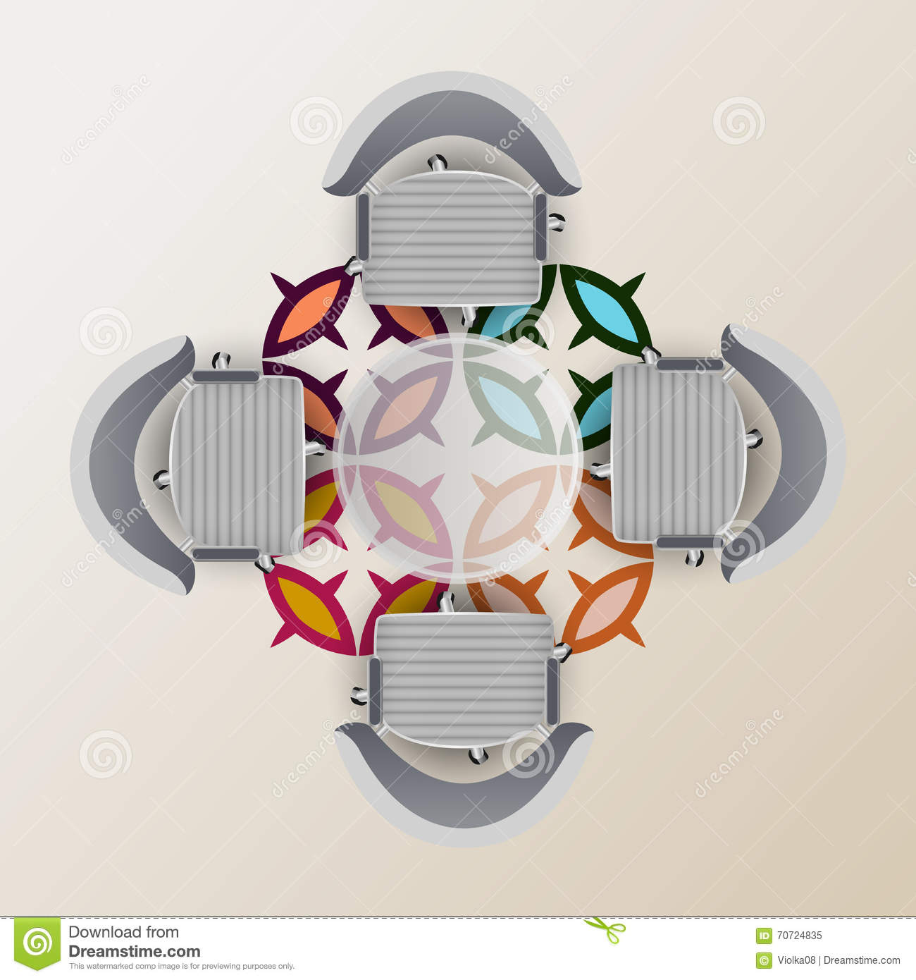 Top View Of A Conference Room Stock Illustration Image - Conference room table and chairs clip art