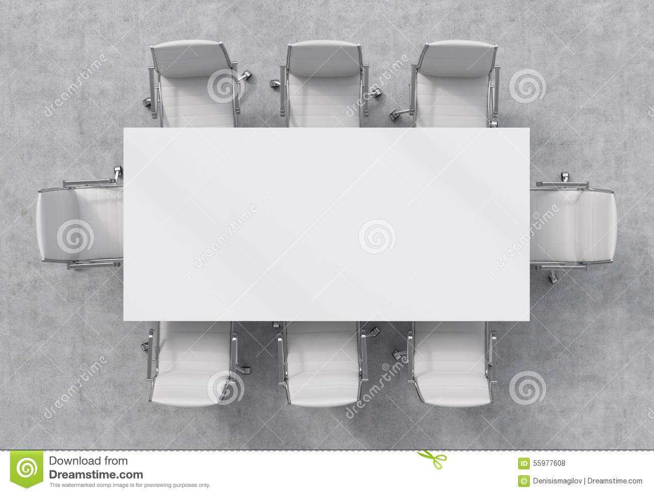 Top View Of A Conference Room  A White Rectangular Table And
