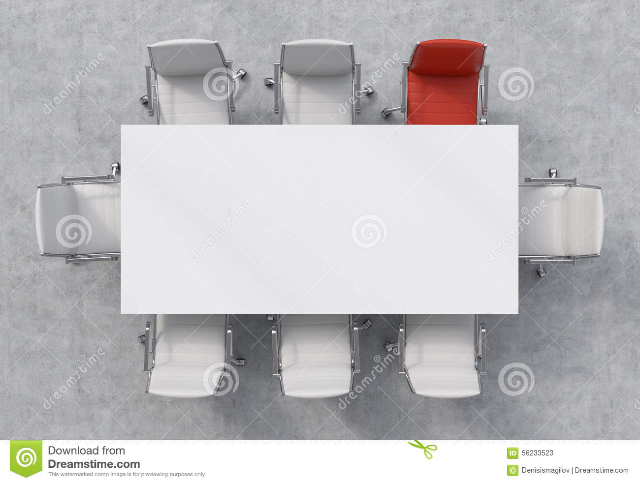 Top View Of A Conference Room A White Rectangular Table  : top view conference room white rectangular table eight chairs around one them red office interior d renderin 56233523 from www.dreamstime.com size 1300 x 984 jpeg 105kB