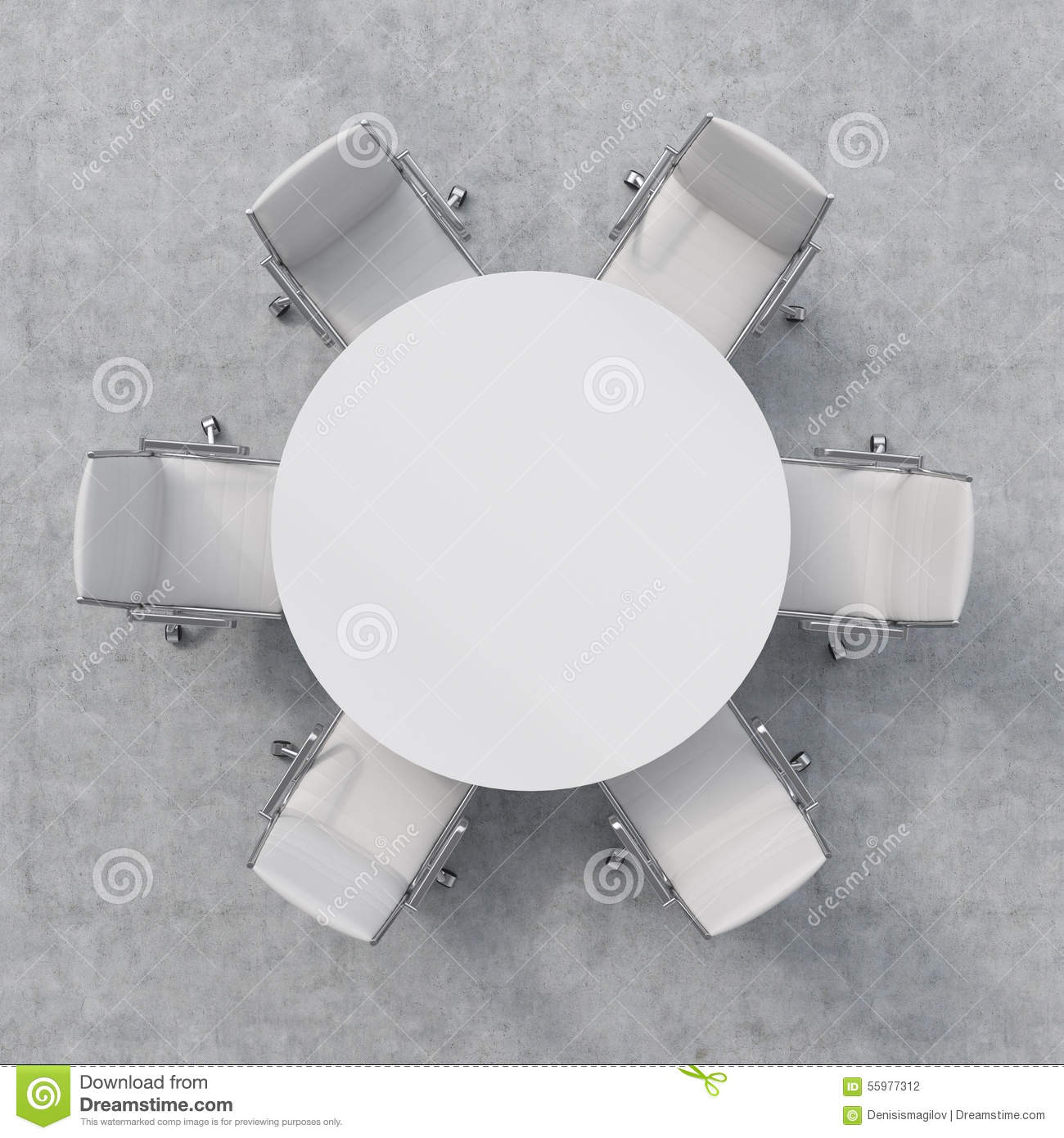 Top View Of A Conference Room White Round Table And Six Chairs