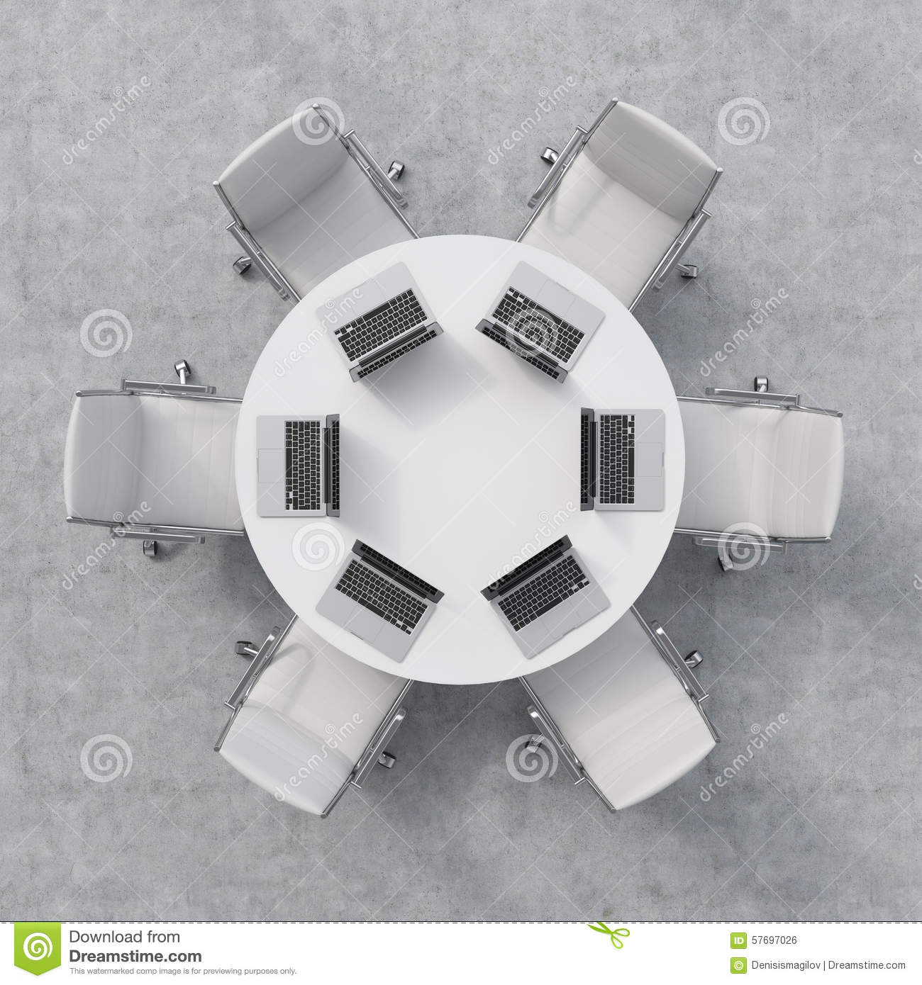 Top View Of A Conference Room A White Round Table Six  : top view conference room white round table six chairs six laptops table office interior d rendering 57697026 from www.dreamstime.com size 1300 x 1390 jpeg 188kB