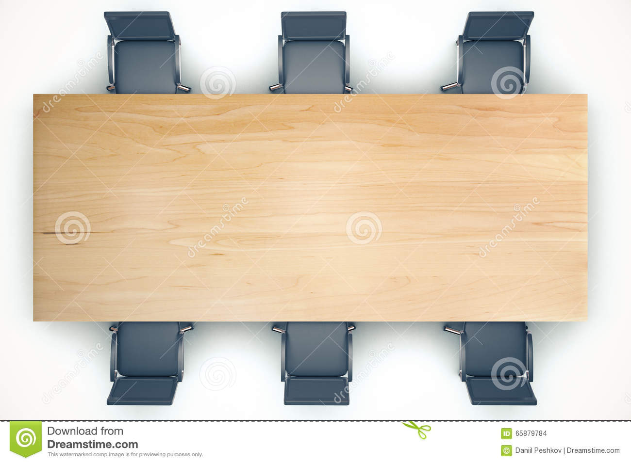 Top View On Conference Wooden Table And Black Chairs Stock