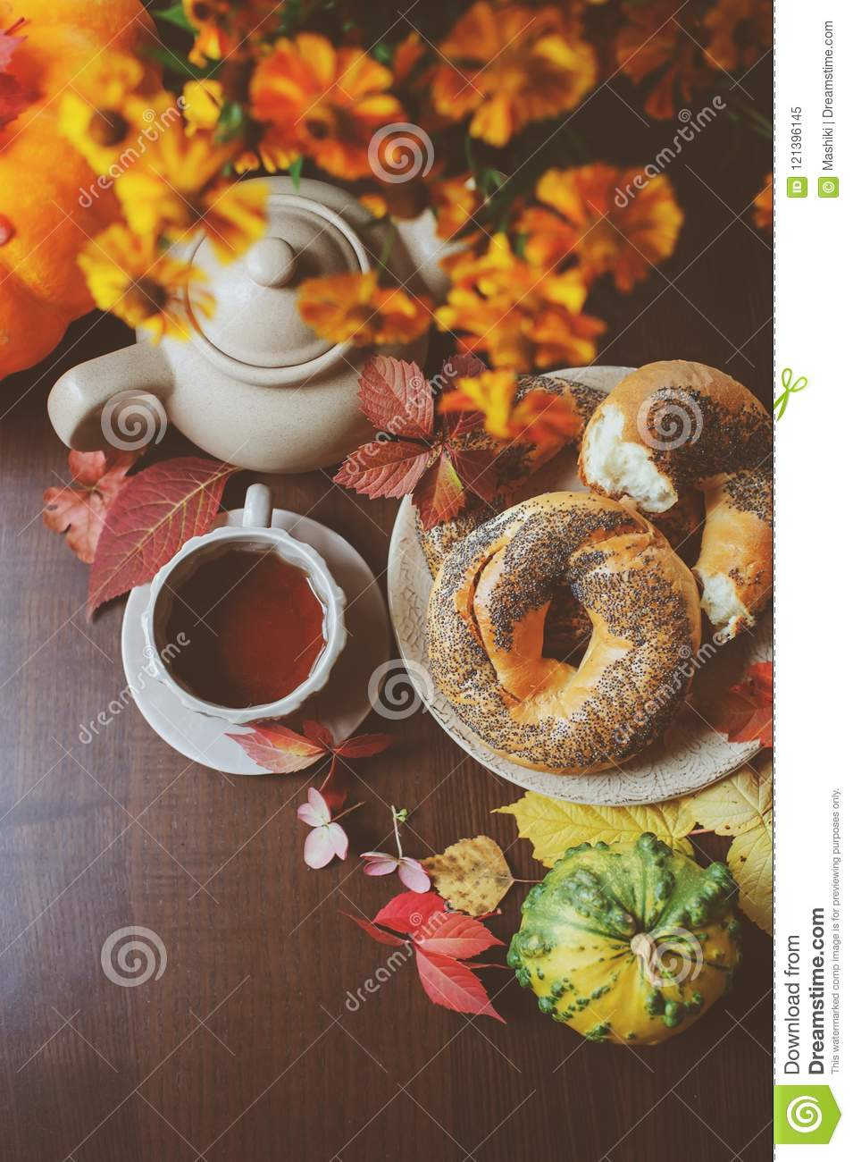 Top view of cozy autumn breakfast on table in country house