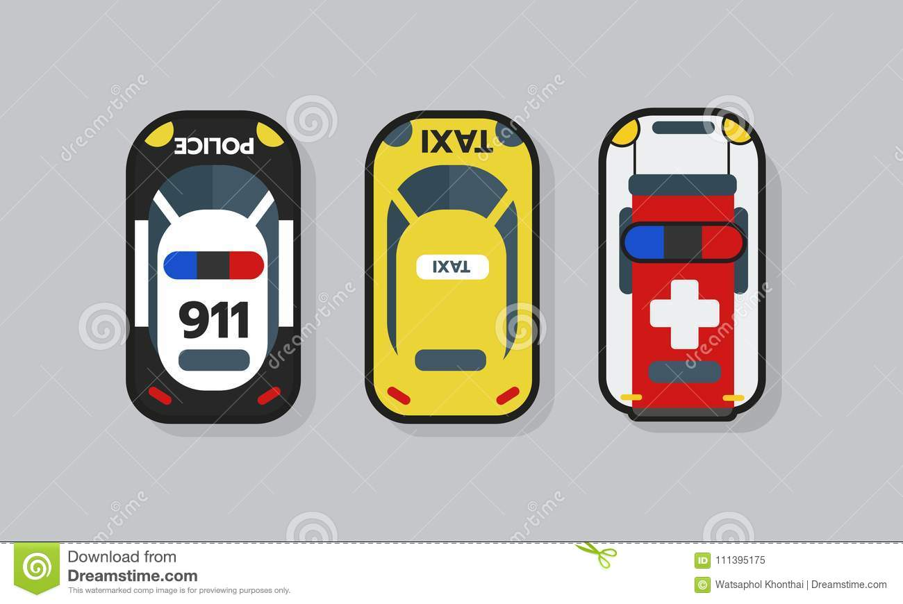 Top View 2D Game Asset, Police, Ambulance And Taxi Car