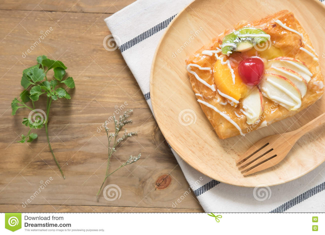 Top view Danish Pastries with Fruit