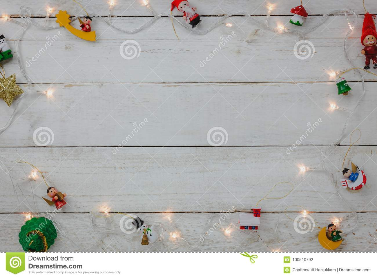 Top View Of Decoration Happy New Year And Merry Christmas