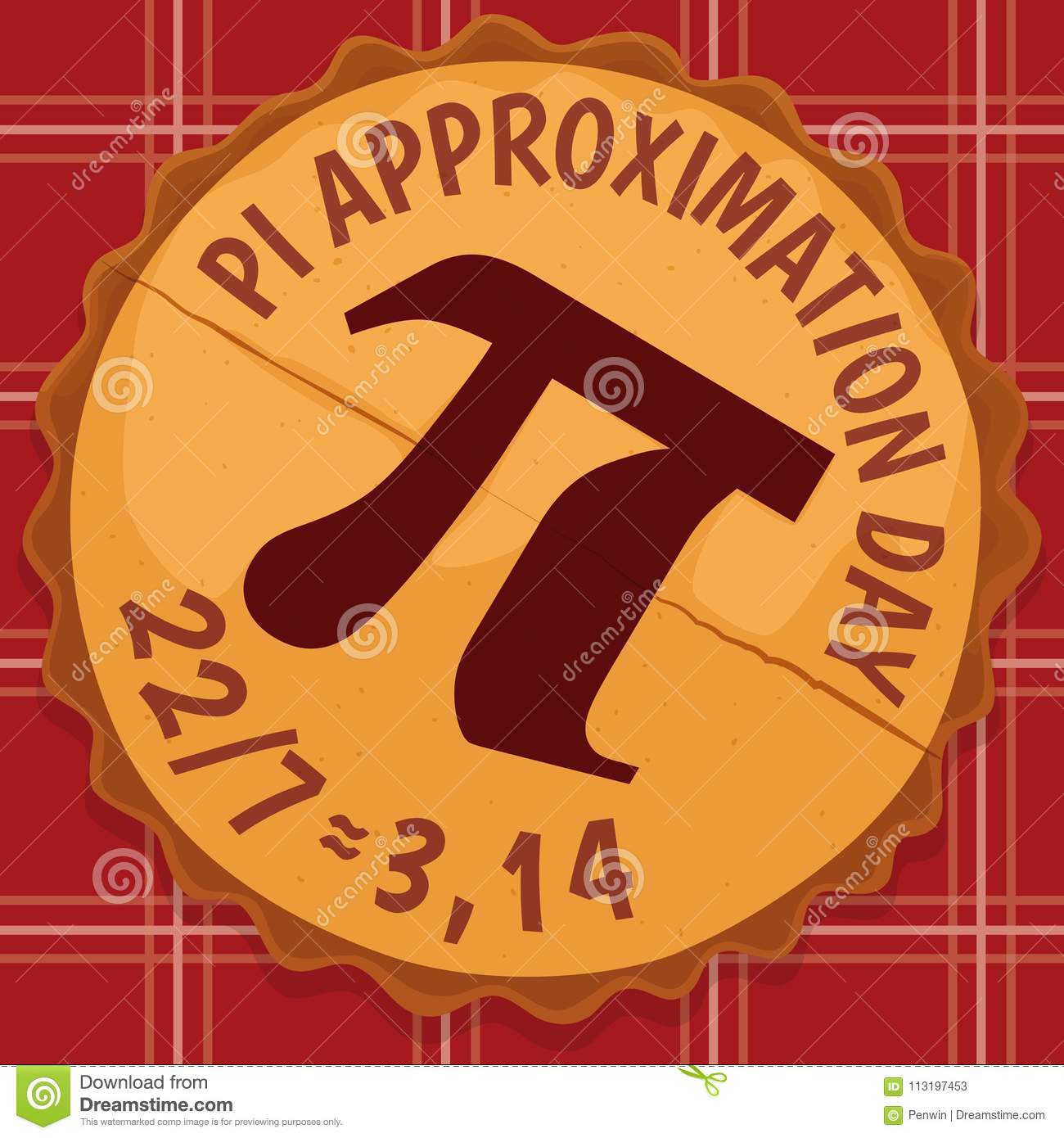 Delicious Pie With Pi Symbol For Pi Approximation Day Vector
