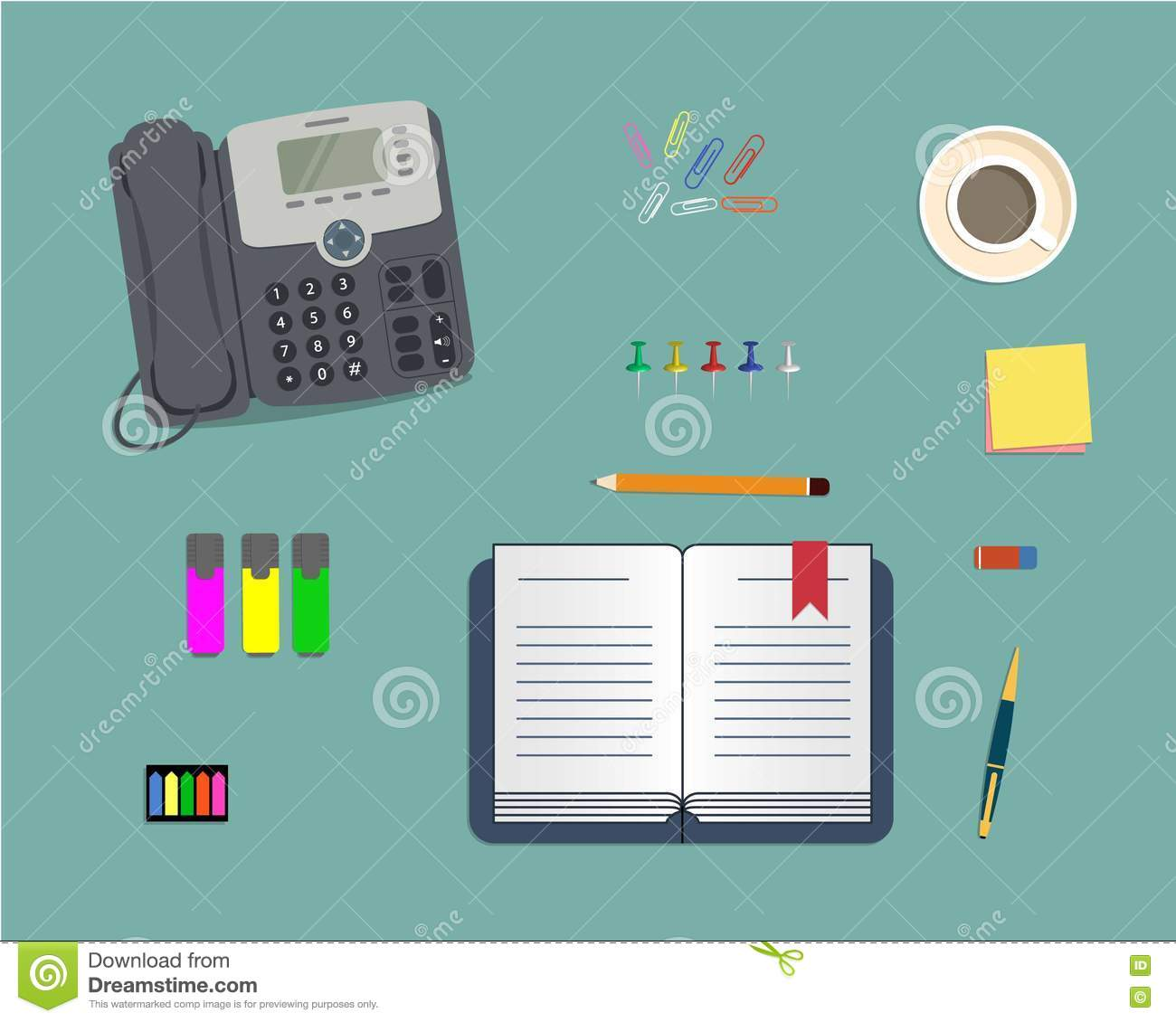 designer office desk isolated objects top view. background coffee cup design flat illustration notebook office phone stationery top vector view designer desk isolated objects s