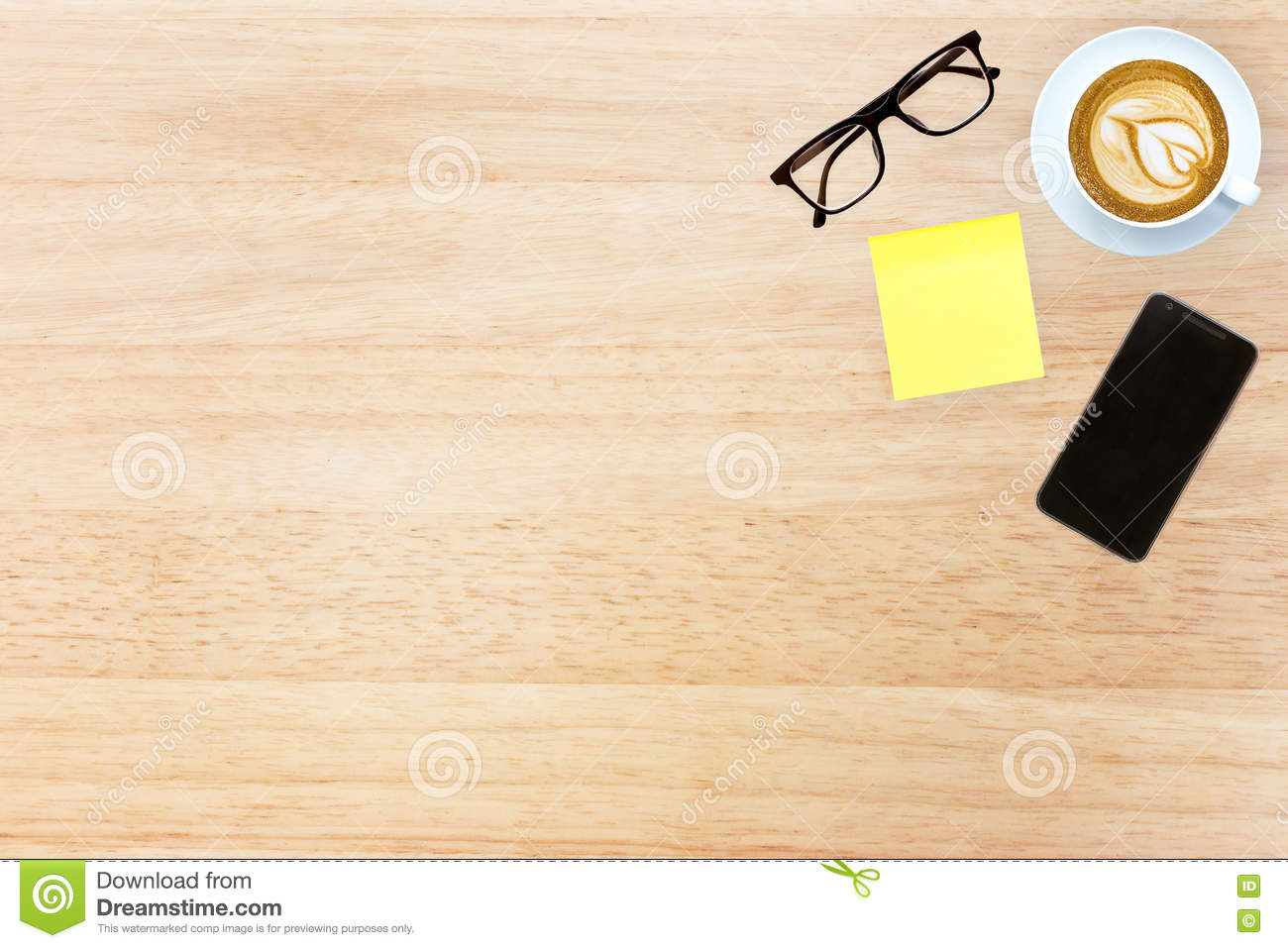 top view desk top with office items image design header with cop stock photo image 70479896. Black Bedroom Furniture Sets. Home Design Ideas