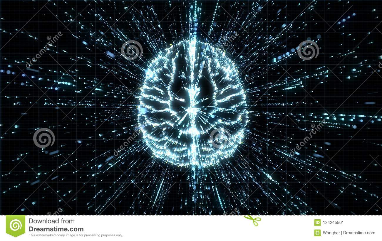 Download Digital Brain In Particle Explosion - Top View Stock Illustration - Illustration of learning, background: 124245501