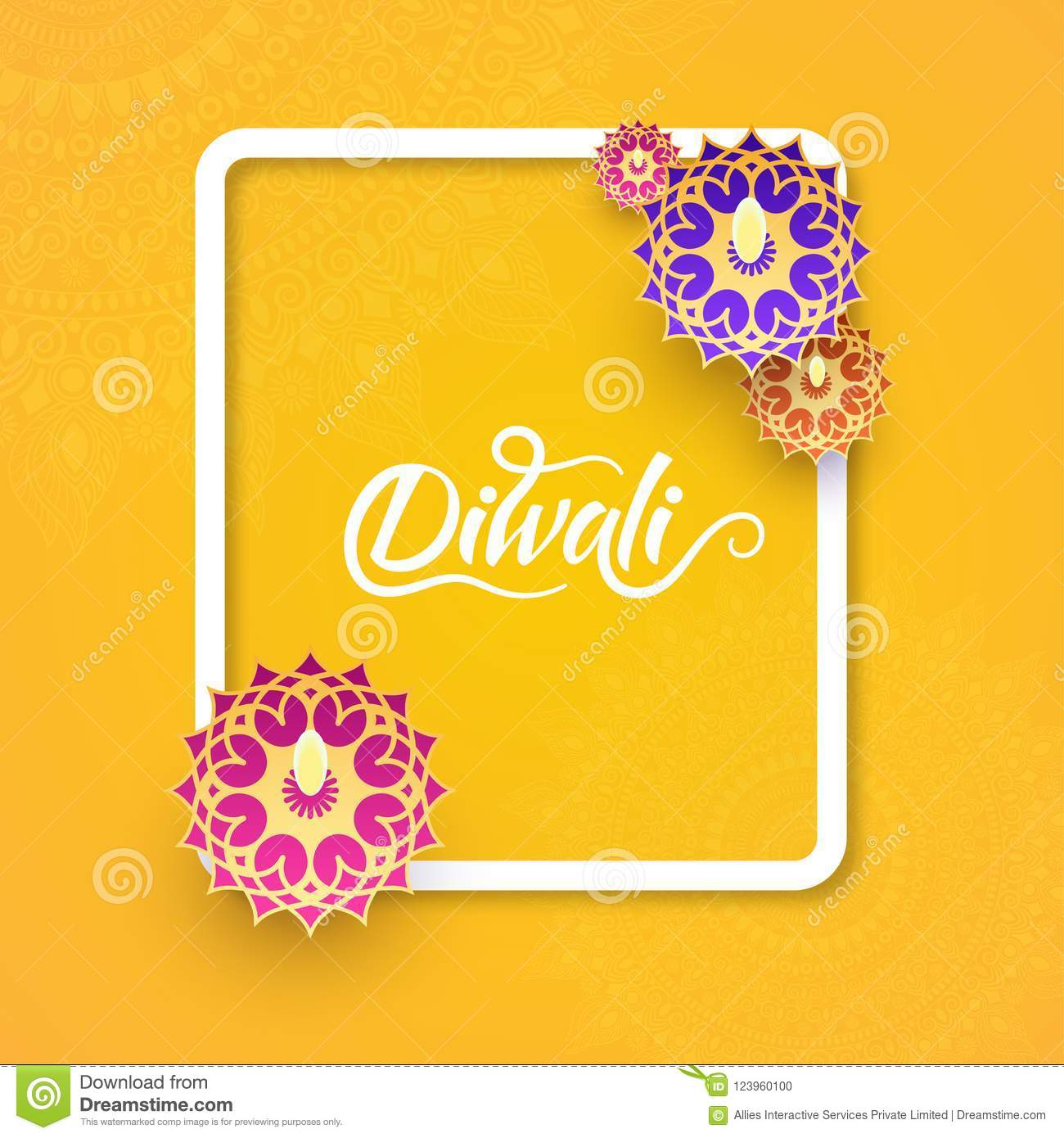 Top View Of Diwali Celebration Yellow Greeting Card Design Decor