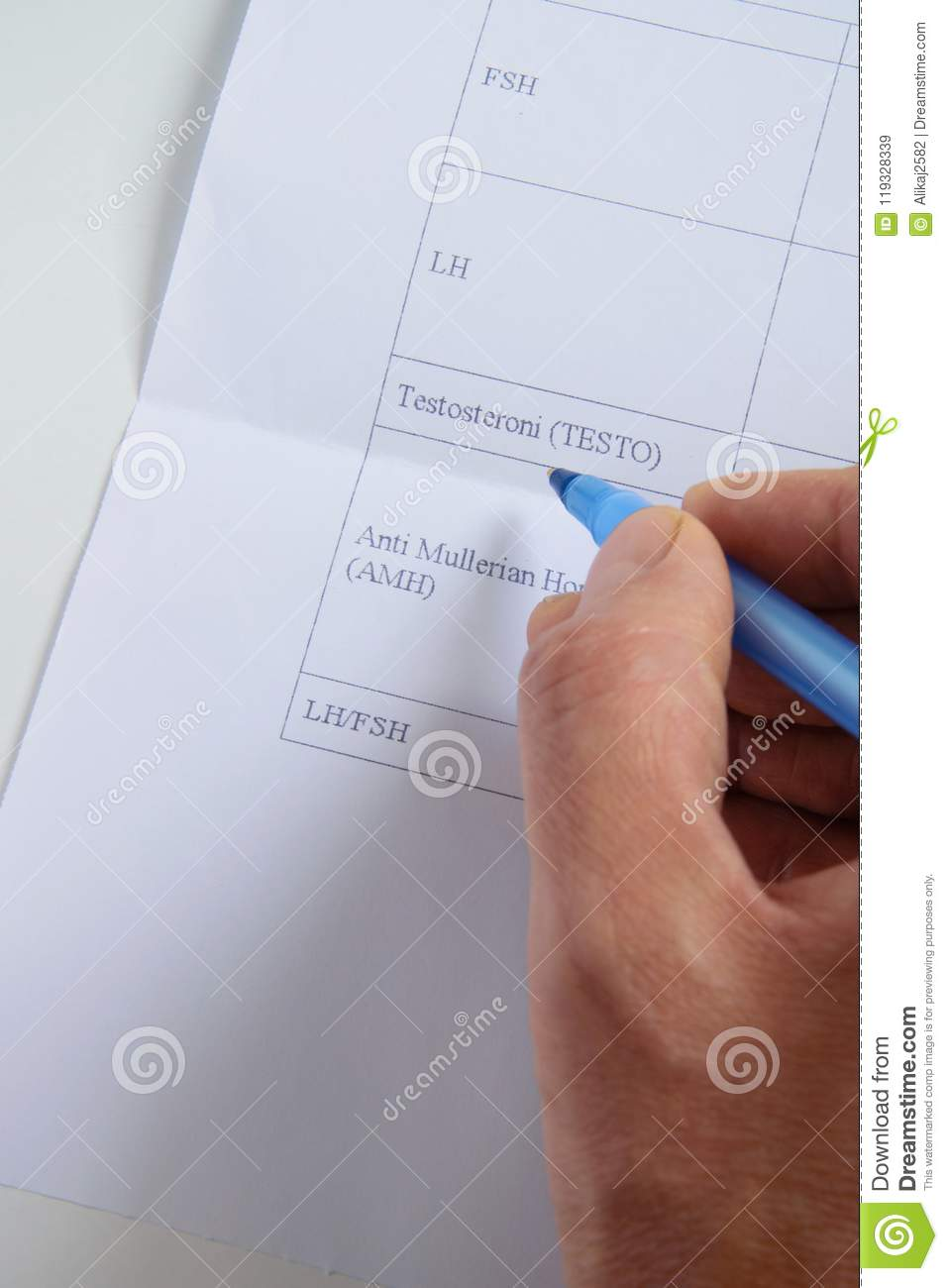 Top View Of Doctor Hand Consults Blood Tests List For Female