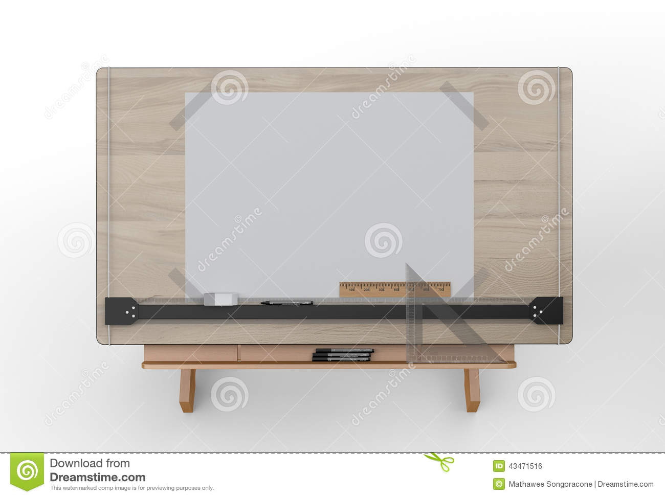 Top View Of Drawing Table With Tools Clipping Path