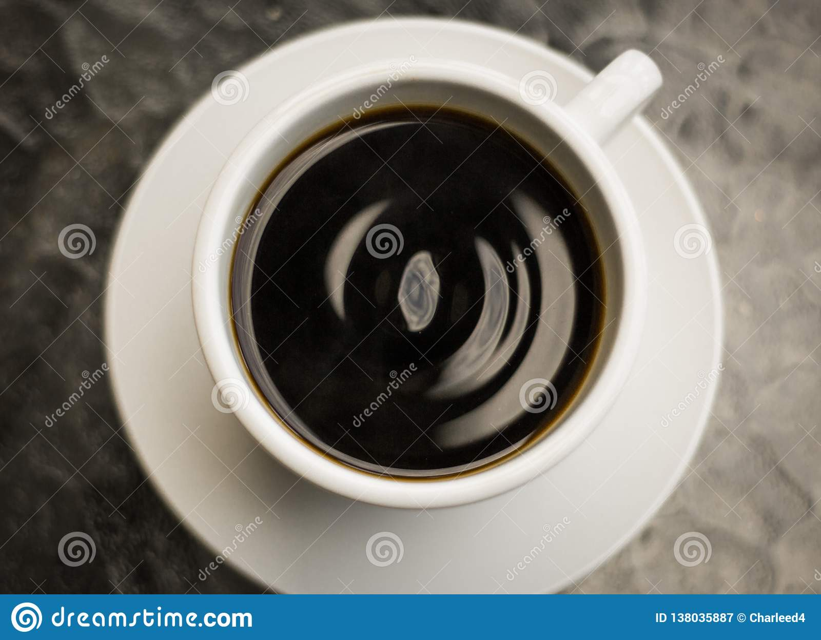 Top view from a drip coffee with wavy pattern