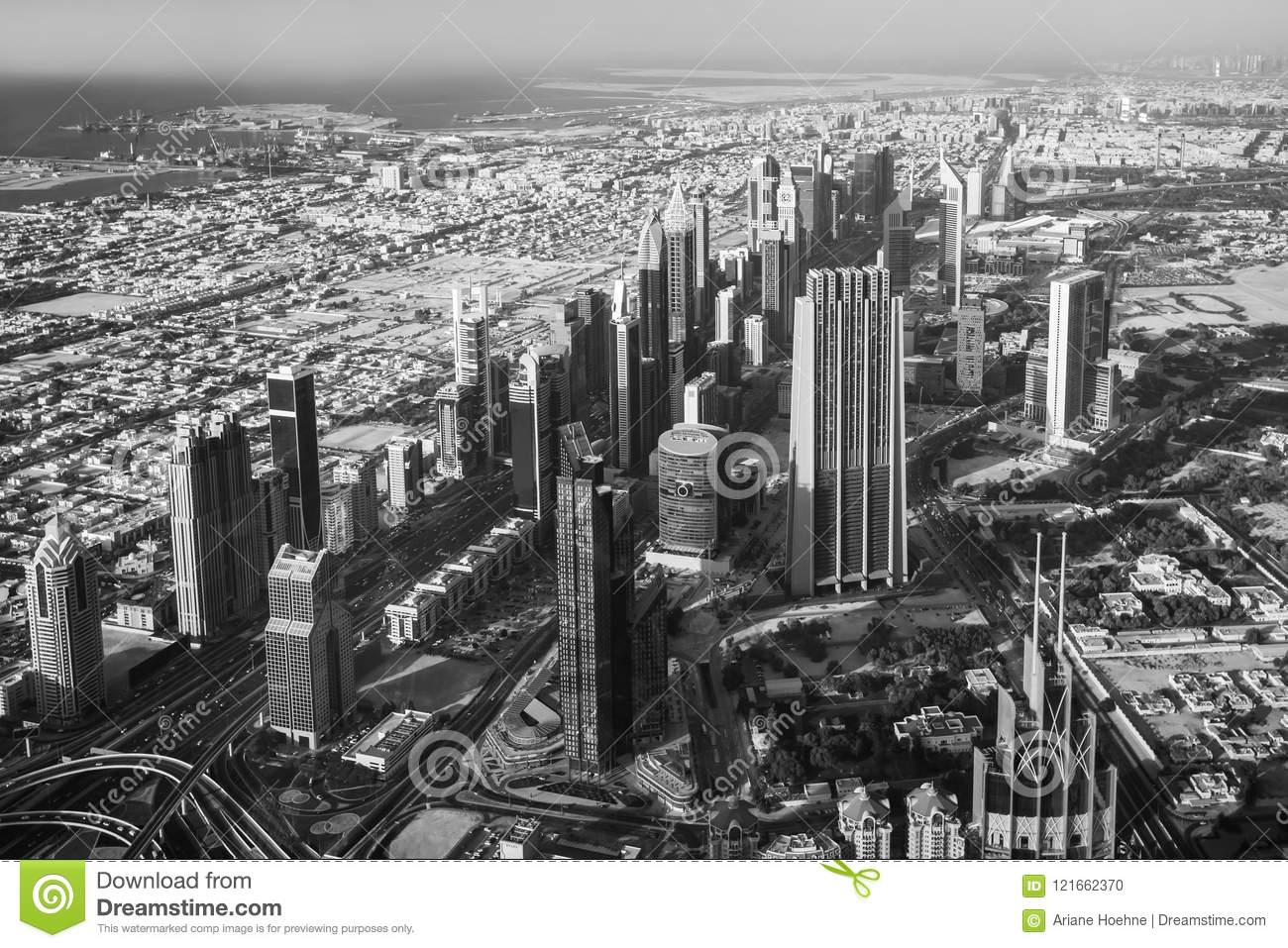 Beautiful top view of dubai city in uae view from above
