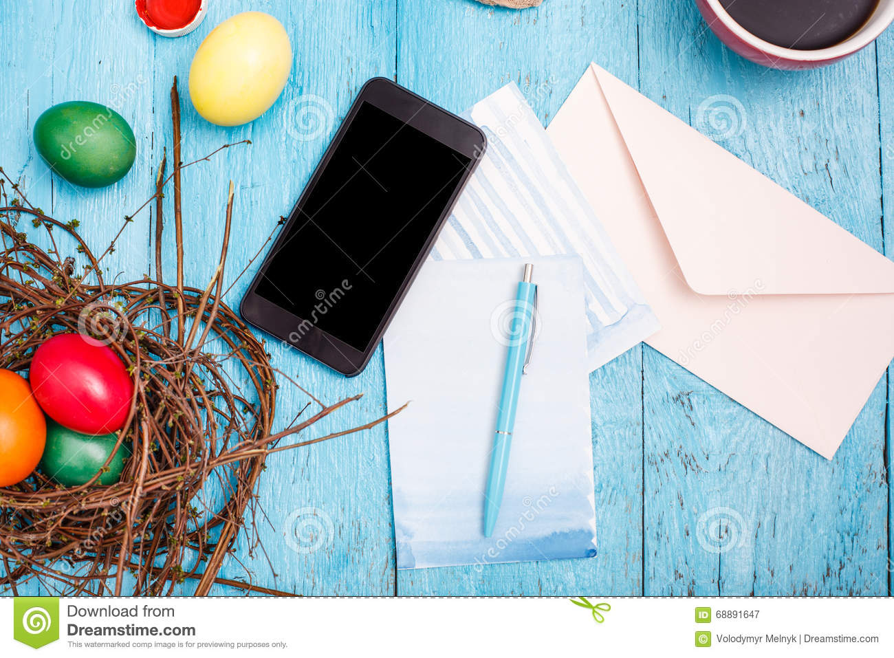 The Top View Of Easter On Wooden Table Office Workplace Stock Image