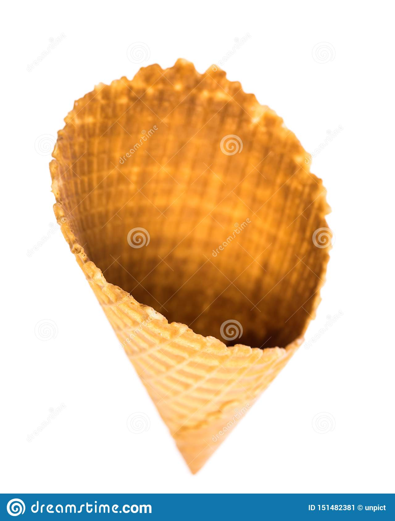 Top view of empty edible ice cream cone isolated on white background