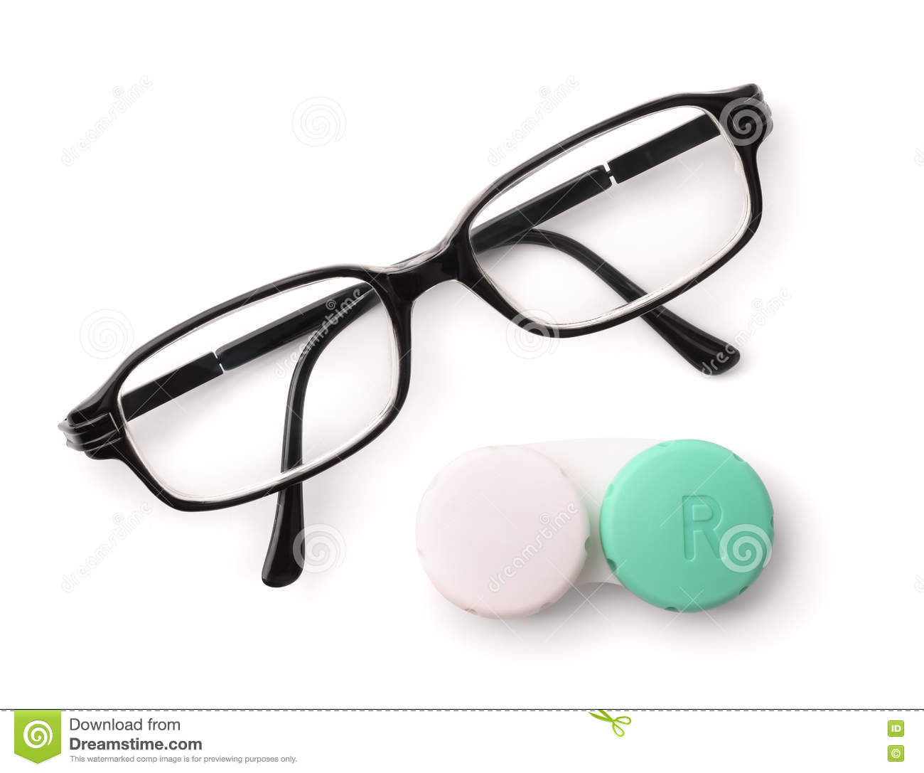 83f8e26583f9 Top View Of Eyeglasses And Eye Contact Lenses Stock Photo - Image of ...