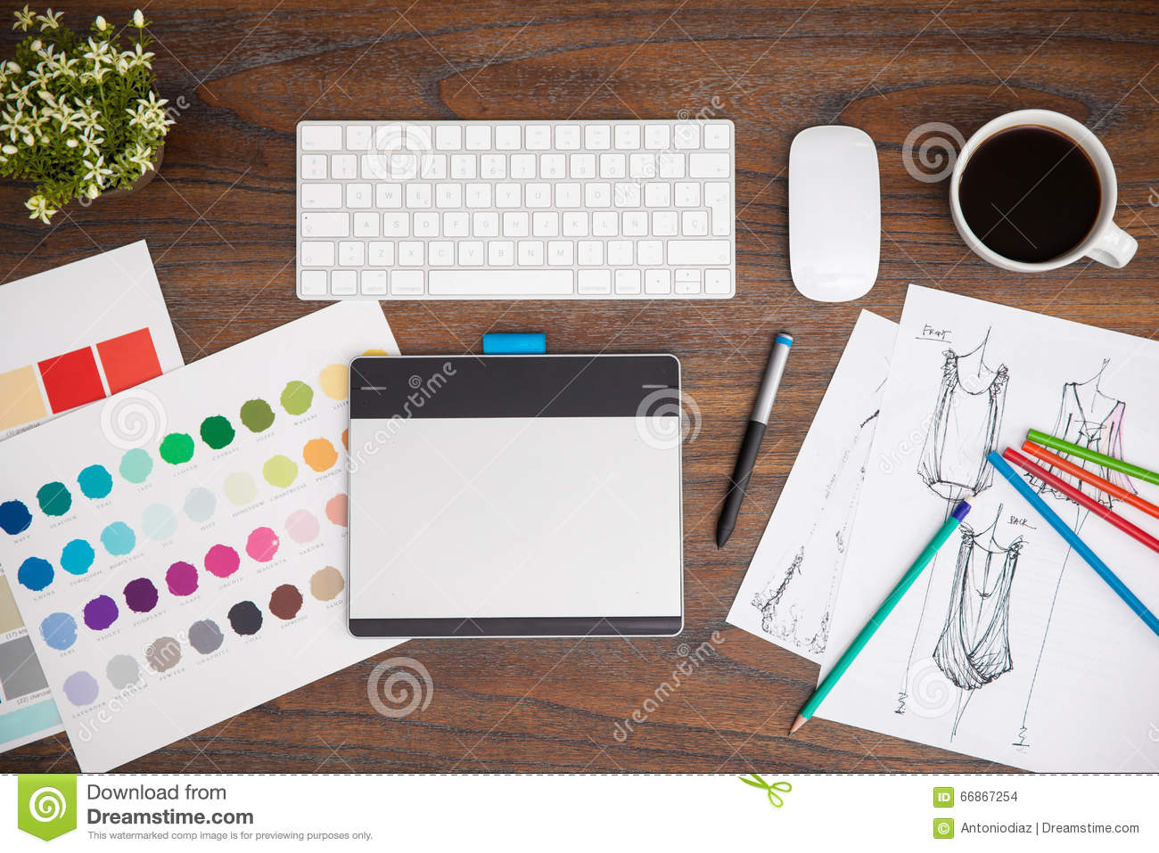 Top View Of A Fashion Designer S Desk Stock Photo Image Of Plant Drawing 66867254