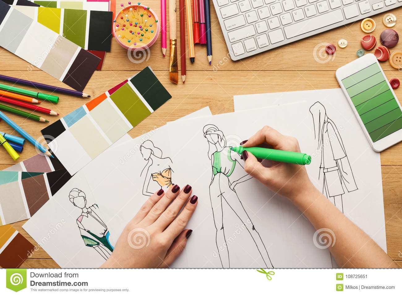 Top View On Woman Designer Drawing Clothes Sketches Stock Image Image Of Draw Clothing 108725651