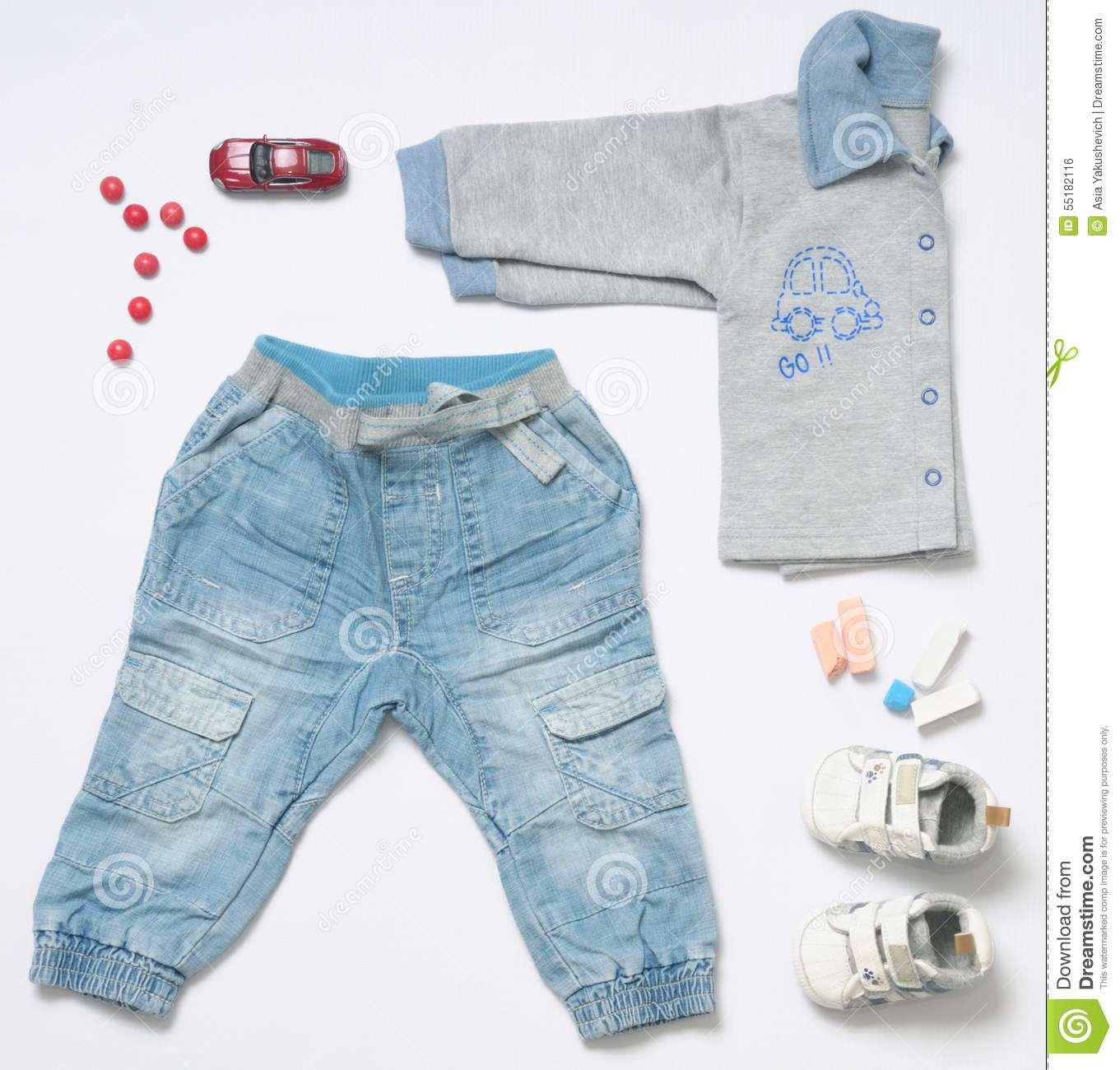 Top View Fashion Trendy Look Baby Boy Clothes With Toy