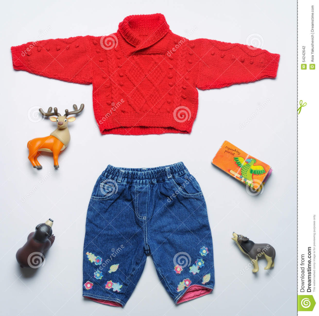 Top View Fashion Trendy Look Baby Clothes And Toy Stuff