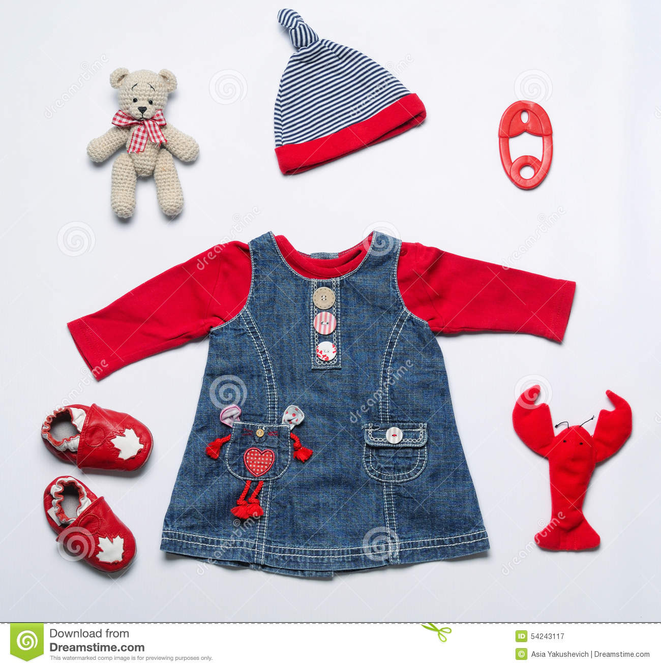 Top View Fashion Trendy Look Baby Girl Clothes And Toy