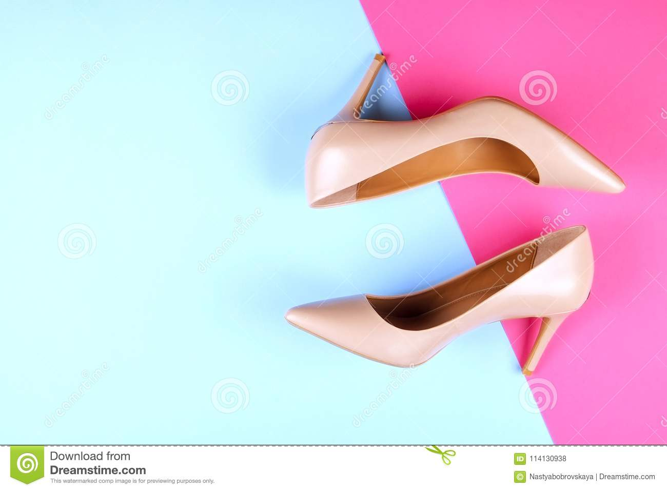 ad0d21d31 Top view of fashionable feminine medium heeled women`s leather shoes of  pastel colors on heels / wedge for spring-summer season.