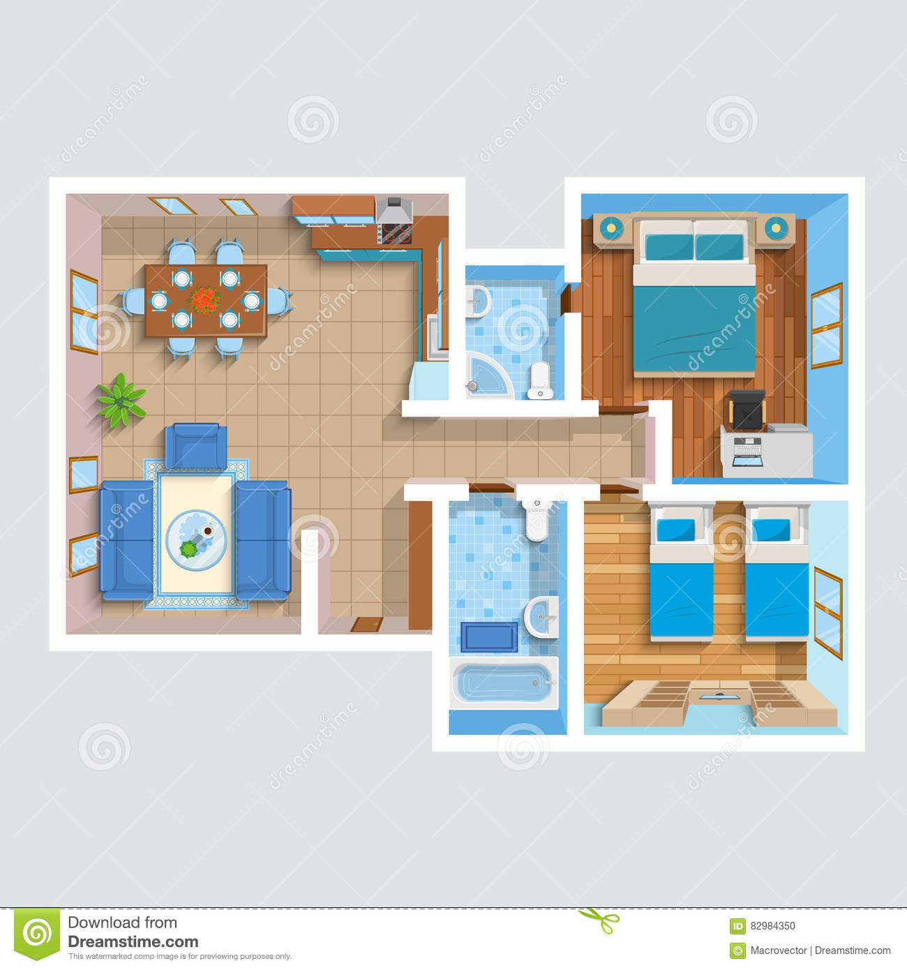 Top View Interior Furniture Icons Flat Vector Icons