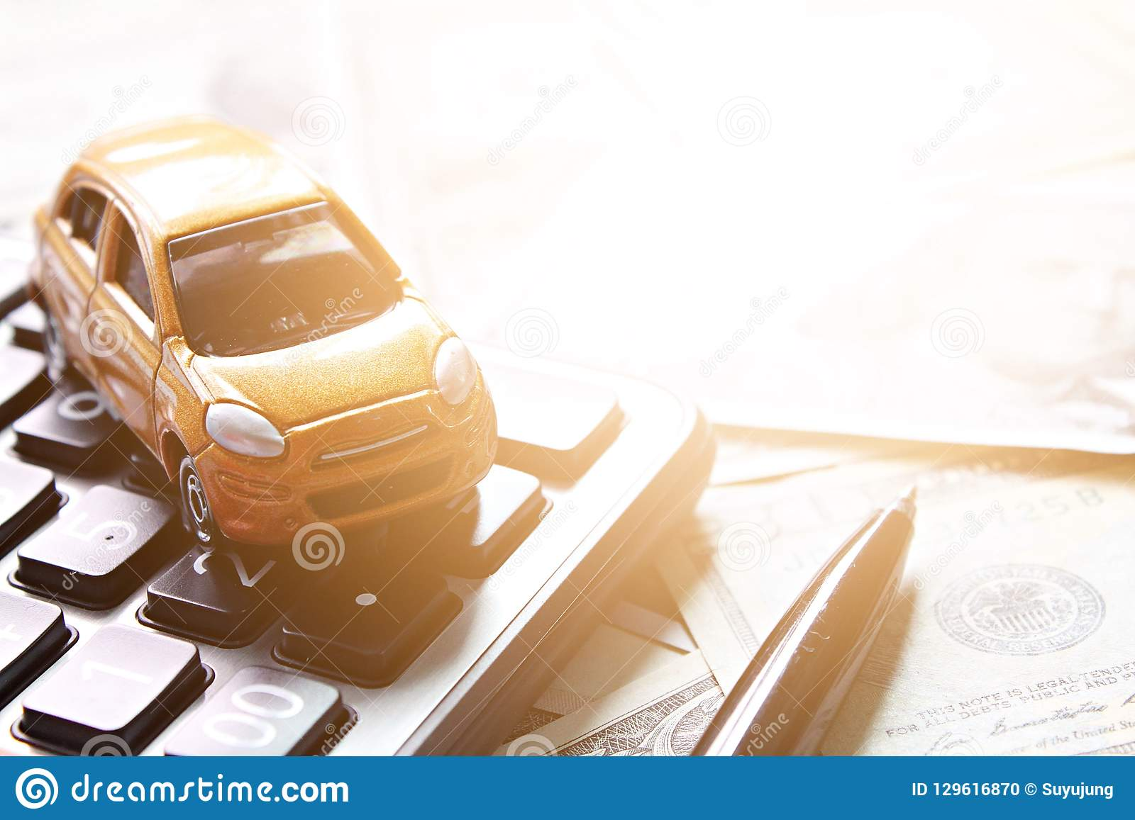 Top View Or Flat Lay Of Miniature Car Model And Calculator On American Dollars Cash Money Stock Photo Image Of Deposit Growth 129616870