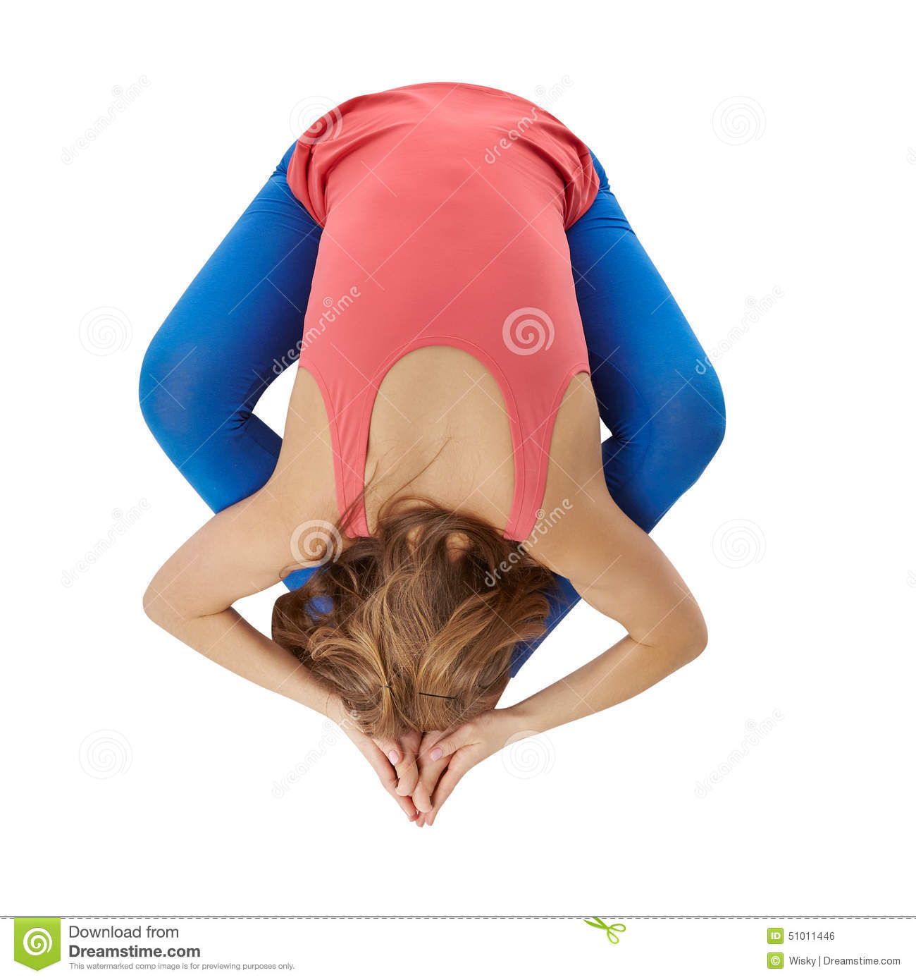 Top View Of Flexible Woman Doing Yoga