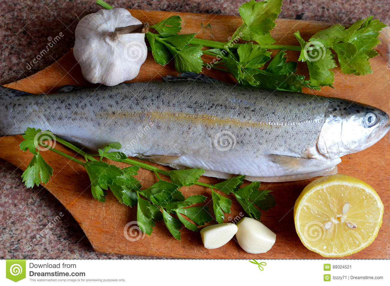 Top view of fresh raw trout
