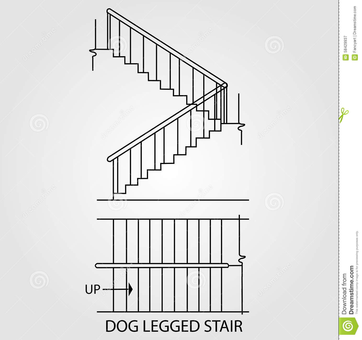 Top view and front view of a dog legged stair